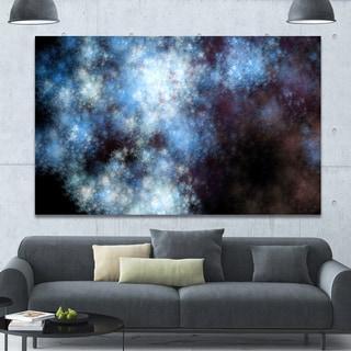 Designart 'Blue White Starry Fractal Sky' Abstract Art on Canvas