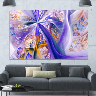 Designart 'Purple Yellow Fractal Curves' Extra Large Abstract Canvas Wall Art Print - Purple