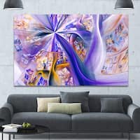 Designart 'Purple Yellow Fractal Curves' Extra Large Abstract Canvas Wall Art Print