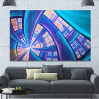 Designart 'Blue Yellow Fractal Stained Glass' Extra Large Canvas Art Print