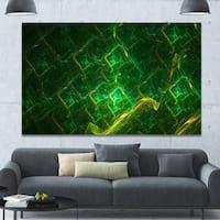 Designart 'Green Fractal Electric Lightning' Abstract Art on Canvas