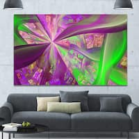 Designart 'Pink Green Fractal Curves' Extra Large Canvas Art Print
