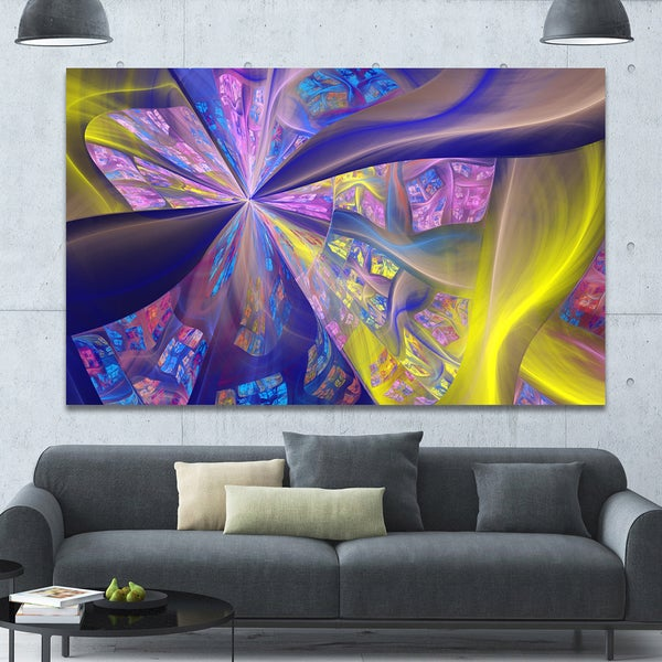 Designart 'Purple Yellow Fractal Curves' Extra Large Canvas Art Print