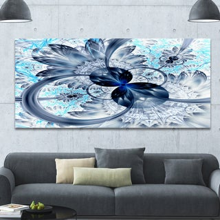 Designart 'Dark Blue Purple Fractal Flower' Abstract Wall Art on Canvas