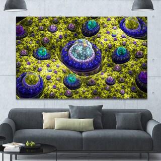 Designart 'Yellow Fractal Exotic Planet' Extra Large Canvas Art Print - Yellow