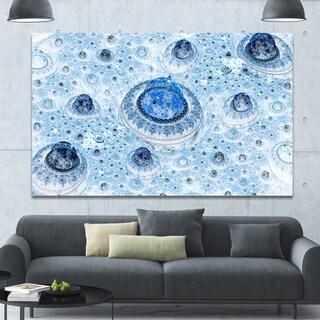 Designart 'Light Blue Fractal Exotic Planet' Extra Large Canvas Art Print