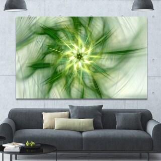 Designart 'Rotating Bright Green Flower' Extra Large Abstract Canvas Art Print