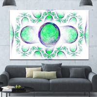 Designart 'Green Exotic Pattern on White' Abstract Art on Canvas