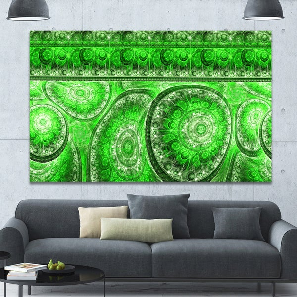 Designart 'Green Living Cells Fractal Design' Extra Large Abstract Canvas Art Print - Green