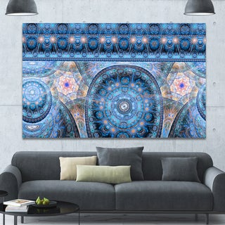 Designart 'Light Blue Living Cells Fractal Design' Extra Large Abstract Canvas Art Print