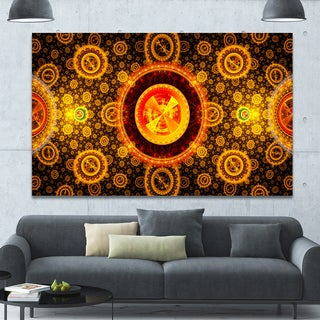 Designart 'Golden Psychedelic Relaxing Art' Extra Large Canvas Art Print - Yellow