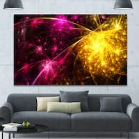 Designart 'Yellow Pink Colorful Fireworks'Extra Large Abstract Canvas Art Print
