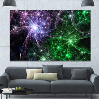 Designart 'Green Purple Colorful Fireworks' Extra Large Abstract Canvas Art Print - Green/Purple