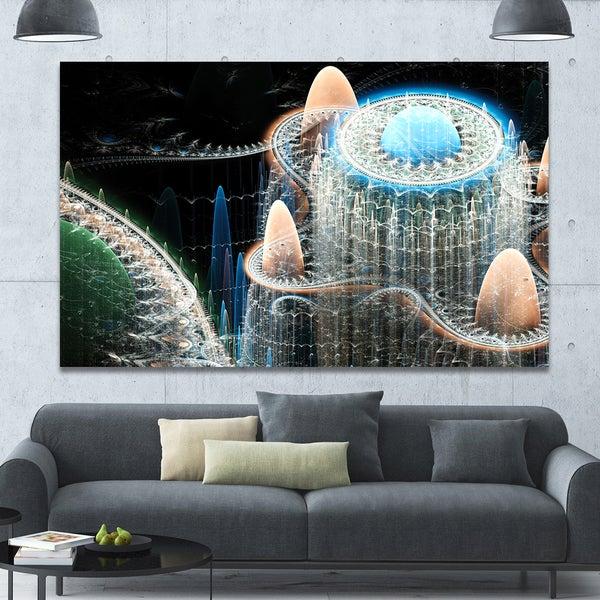 Designart 'Blue Fractal Infinite World' Abstract Art on Canvas
