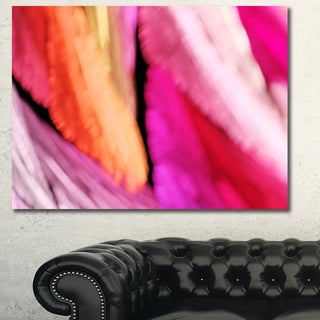 Designart 'Red Vibrant Brushstrokes' Extra Large Abstract Canvas Art Print - Pink