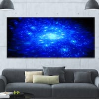 Designart 'Blue Fireworks on Black' Extra Large Abstract Canvas Art Print
