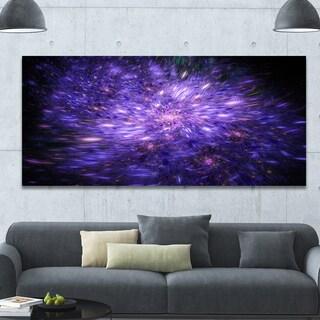 Designart 'Purple Fireworks on Black' Extra Large Abstract Canvas Art Print - Purple