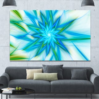 Designart 'Blue Fractal Shining Bright Star' Extra Large Abstract Canvas Art Print - Blue