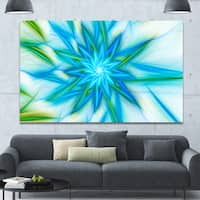 Designart 'Blue Fractal Shining Bright Star' Extra Large Abstract Canvas Art Print