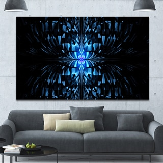 Designart 'Blue Butterfly Pattern on Black' Abstract Art on Canvas - Blue