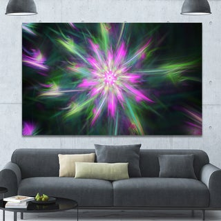 Designart 'Green Fractal Shining Bright Star' Extra Large Abstract Canvas Art Print - Green