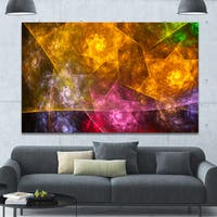 Designart 'Yellow Pink Rotating Polyhedron' Extra Large Canvas Art Print