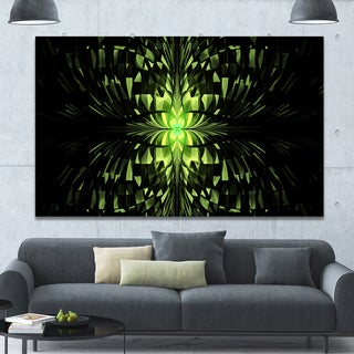 Designart 'Green Butterfly Pattern on Black' Extra Large Abstract Canvas Art Print Canvas - Green