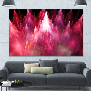 Designart 'Red Fractal Crystals Design' Extra Large Abstract Canvas Art Print - Red