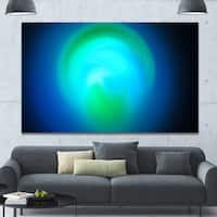 Designart 'Blue Misty Sphere on Black' Extra Large Abstract Canvas Art Print