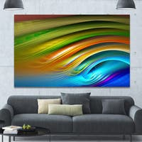 Designart 'Colorful Fractal Water Ripples' Abstract Wall Art on Canvas