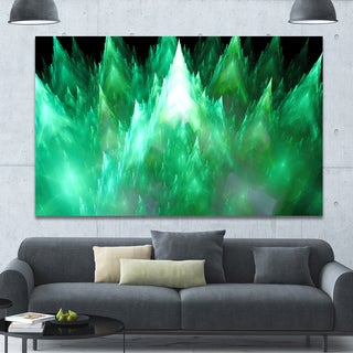 Designart 'Green Fractal Crystals Design' Extra Large Abstract Canvas Art Print - Green