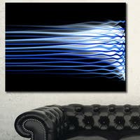 Designart 'Dark Blue Fractal Waves' Extra Large Abstract Canvas Art Print