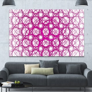 Designart 'Pink Unusual Metal Grill' Abstract Canvas Wall Art - Pink