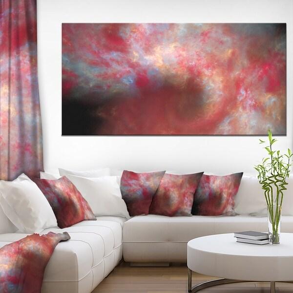 Designart 'Red Starry Fractal Sky' Abstract Wall Artwork