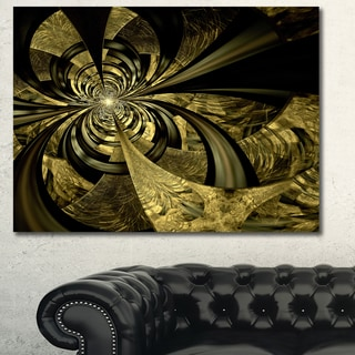 Designart 'Colorful Fractal Flower Pattern' Extra Large Abstract Canvas Art Print - Brown