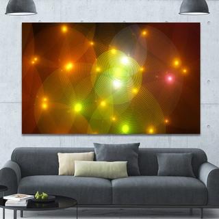 Designart 'Golden Fractal Lights in Fog' Extra Large Abstract Canvas Art Print Canvas - Gold