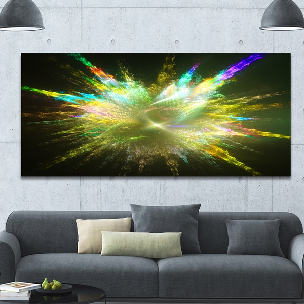 Designart 'Fractal Explosion of Paint Drops' Abstract Wall Art on Canvas