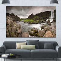 Designart 'Dramatic Oxarafoss Waterfalls' Extra Large Abstract Canvas Art Print