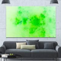 Designart 'Bright Green Starry Fractal Sky' Abstract Artwork on Canvas