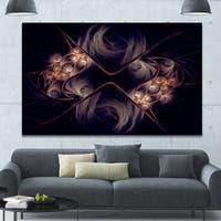 Designart 'Dark Gold Fractal Flower Pattern' Abstract Wall Art Canvas