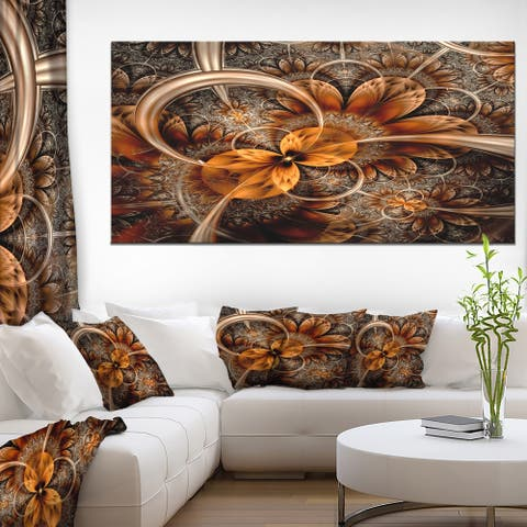 Designart 'Dark Orange Fractal Flower' Abstract Canvas Art Print