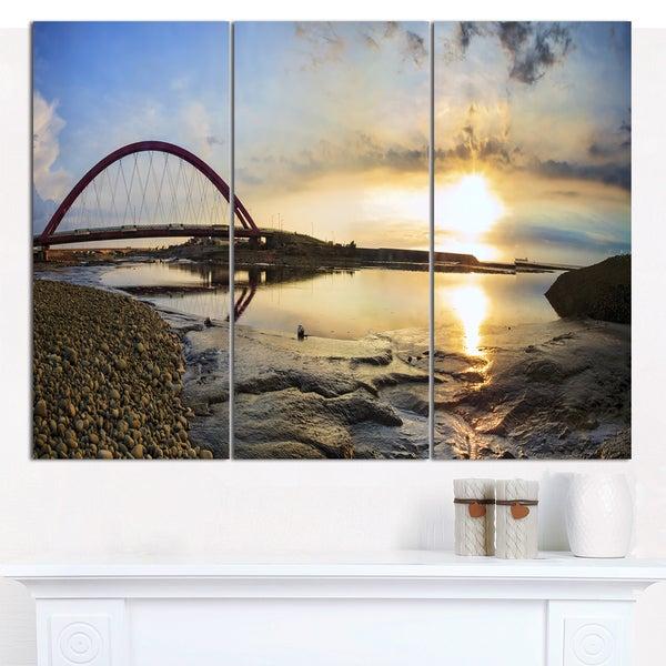 Designart 'Bridge Sunset Panorama' Multipanel Seashore Canvas Art Print - 3 Panels 36x28