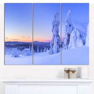 Designart 'Sunset over Frozen Trees' Modern Landscape Canvas Art - 3 Panels 36x28
