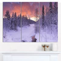 Designart 'Finnish Lapland Trees in Winter' Landscape Wall Art on Canvas - 3 Panels 36x28 - Multi-color