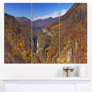 Designart 'Kegon Falls near Nikko Panorama' Landscape Wall Art on Canvas - 3 Panels 36x28