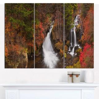 Designart 'Ryuzu Falls near Nikko Japan' Landscape Wall Art on Canvas - 3 Panels 36x28
