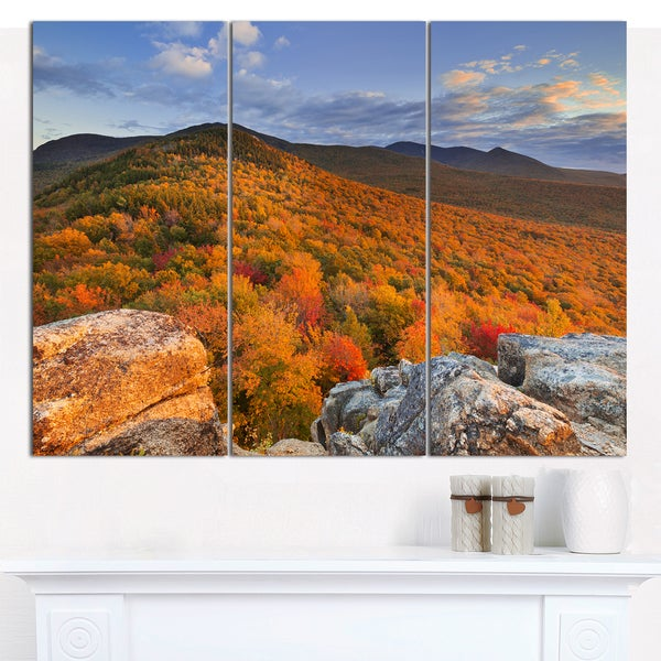 Designart 'Endless Forests in the Fall Foliage' Landscape Wall Art on Canvas - 3 Panels 36x28 - Multi-color