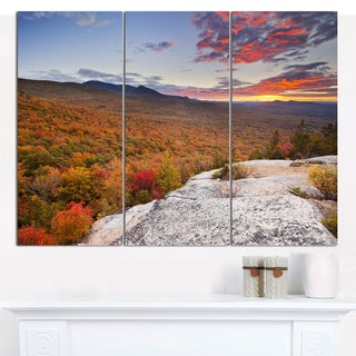 Designart 'Endless Forests in Fall Foliage' Landscape Wall Art on Canvas - 3 Panels 36x28