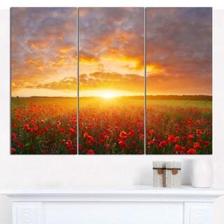 Designart 'Poppy Field under Bright Sunset' Modern Landscpae Wall Art - 3 Panels 36x28