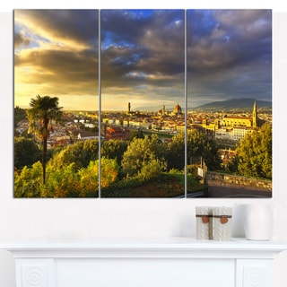 Designart 'Florence Sunset Aerial View' Modern Landscpae Wall Art - 3 Panels 36x28